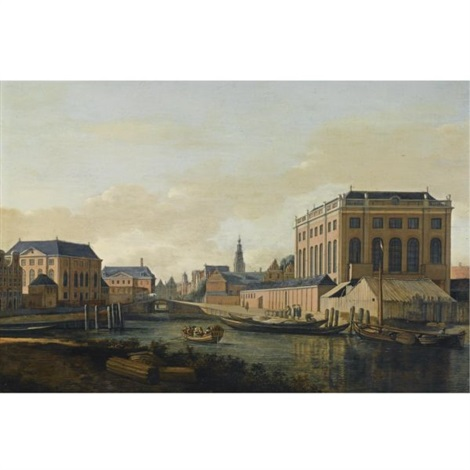 amsterdam a view of the portuguese and the grote synagogue with figures in a boat on the muidergracht the tower of the zuiderkerk and the town hall in the distance by gerrit adriaensz berckheyde