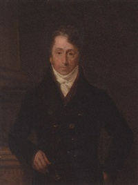 portrait of john becher in a black coat, red waistcoat and white stock, resting his arm on a plinth by henry william pickersgill