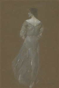 woman in blue dress by thomas wilmer dewing