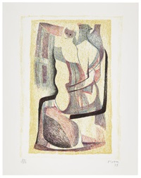 seated mother and child (+ reclining figures man and women ii, 1975, etching & aquatint, smllr; 2 works) by henry moore
