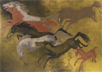 chevaux caracolant panel by pierre dunand