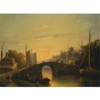 figures near a bridge in a dutch town by joseph bles