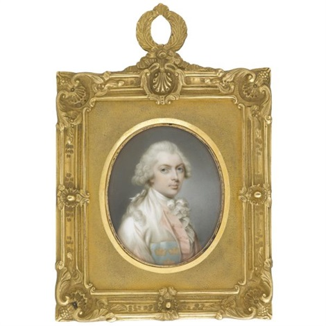 portrait of a gentleman wearing a pink lined white coat a pink waistcoat and a white cravat by thomas day