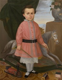 portrait of a boy with a toy locomotive and a hide covered rocking horse by joseph whiting stock