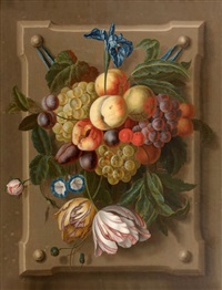 bouquet de fleurs et de fruits (pair) by martin van dorne