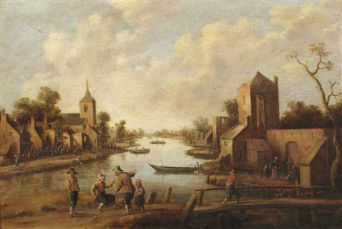 a village near a river figures in the foreground by joost cornelisz droochsloot