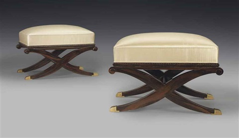 stools pair by émile jacques ruhlmann