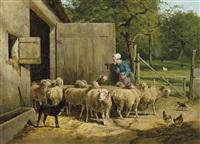 fermière et moutons près de l'étable by frans van leemputten