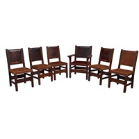 dining chair set by gustav stickley
