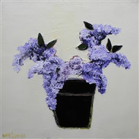lilacs in black pot by tj walton