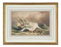 ship wreck in a stormy sea by william john huggins