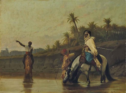 arabs watering their horses by gustave clarence rodolphe boulanger