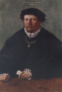 portrait of a gentleman in a black costume and fur-trimmed coat, a gold chain with a pendant of emperor valentinian i, a letter in his left hand, his hands resting upon a wooden ledge by hermann tom ring