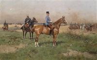 general prinz leopold von croy in campagneuniform zu pferd während eines manövers, im hintergrund husaren-stabsoffizier als generaladjutant mit kommodtschako, im hintergrund anreitende dragonereskadron, sowie ein einzelner husar by thaddaus von ajdukiewicz
