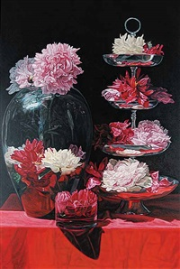 peonies with silver platter by robert lemay
