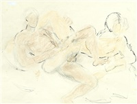male nudes wrestling by duncan grant