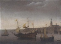 a view of vlissingen with shipping by abraham de verwer