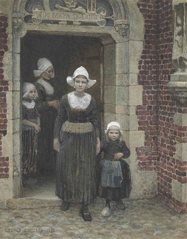 coming out of church vollendam zuider zee by sir george clausen