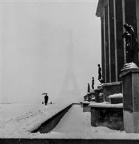 veiled eiffel tower from the palais de chaillot, paris by lee miller