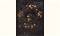 st. joseph et l'enfant jésus dans une guirlande de fleurs by josefa de (obidos) ayala