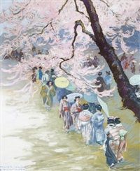 geishas under cherry blossom by franz kienmayer