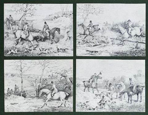 A hunting scene A shooting scene 8 works, framed as 2 sets of 4 by ...
