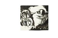 homme dans un paysage montagnard by jean lurçat