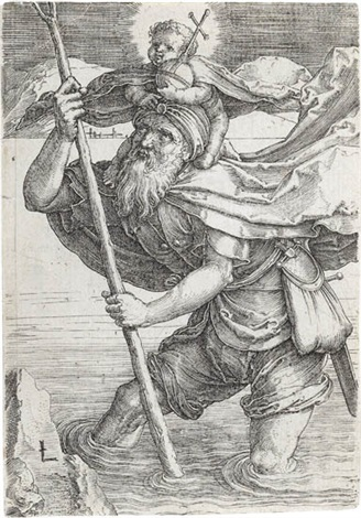 st christopher with the christ child by lucas van leyden