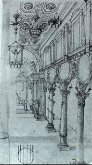 parte di navata centrale di una chiesa con colonne corin-  zie riccamente decorate e can-delabri sul soffitto. by giovanni alberti