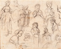 two figure studies (+ figure studies, pencil, verso) by jacob henricus maris
