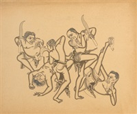 trance dance, five men dancing with birds in their mouth by i. gusti nyoman lempad