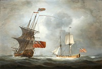 two british sailings vessels at sea by louis dodd