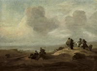 elegant figures in a dune landscape with the ocean beyond by jacob esselens