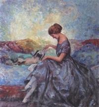 jeune femme jouant avec son chat by william lambrecht