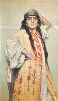 portrait de jeune file aux longues tresses by georgy gabashvili