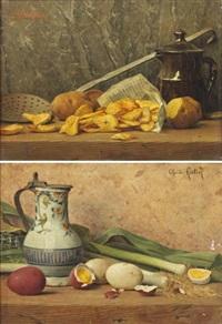 poireaux et oeufs sur un entablement (+ pommes pelées et écumoire sur un entablement; pair) by charles hutin