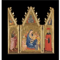 the madonna and child with music-making angels, god the father aboveleft wing (+ 2 others; triptych) by taddeo di bartolo