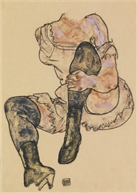 sitzende mit angezogenem linken bein (torso) (seated woman with bent left leg (torso)) by egon schiele