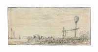 a figure in a rowing boat in an estuary, a landmark on a jetty by jan josefsz van goyen