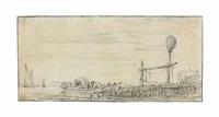 a figure in a rowing boat in an estuary, a landmark on a jetty by jan josefsz van goyen
