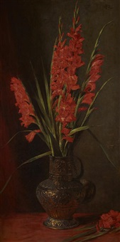 a still life of gladioli by george reid