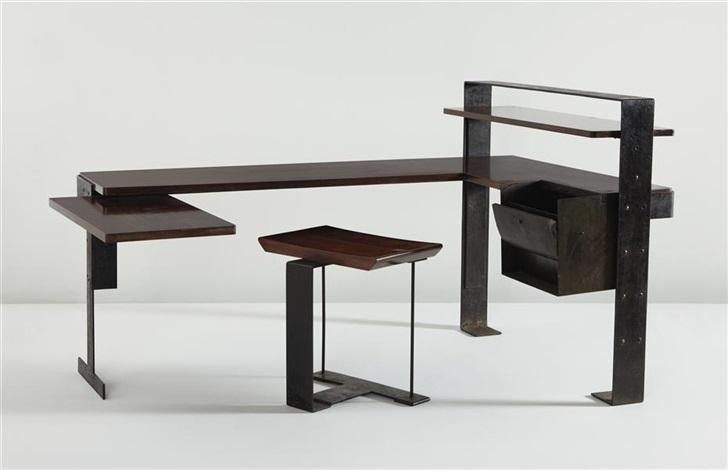 important desk (model mb 405) (+ stool (model sn 3); 2 works) by pierre chareau