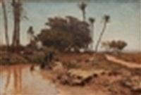 bain dans l'oasis, gizeh by léon adolphe auguste belly