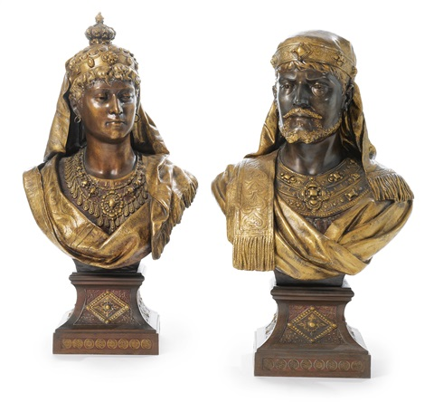 oriental busts pair by louis hottot