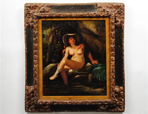 nude in the forest by gustave courbet