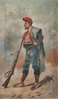 soldado con fusil by josep (josé) cusachs y cusachs