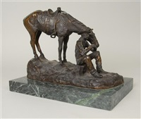 seated cowboy with horse by james earle fraser