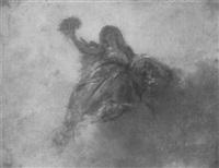 ölstudie einer auf den wolken thronenden göttin by jules luntenschutz