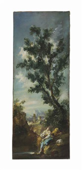 a landscape with a couple embracing by a stream (+ a companion painting; 2 works) by alessandro magnasco