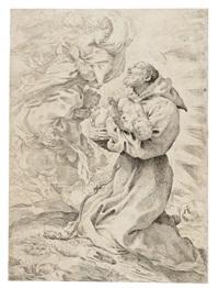 san francesco tiene in braccio gesù bambino al cospetto della madonna by pietro faccini